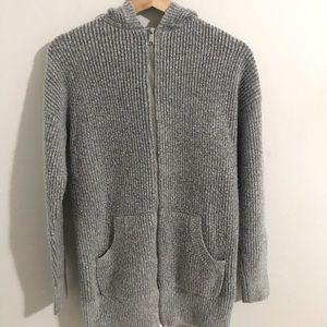 H&M Grey Wool Zip-Up Sweater
